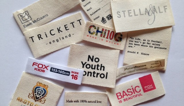 Printed Cotton Labels Woven Printed Garment Labels
