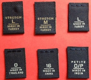 Woven Size and COO labels