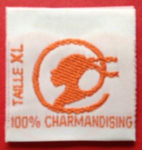 Size taffeta brand woven label